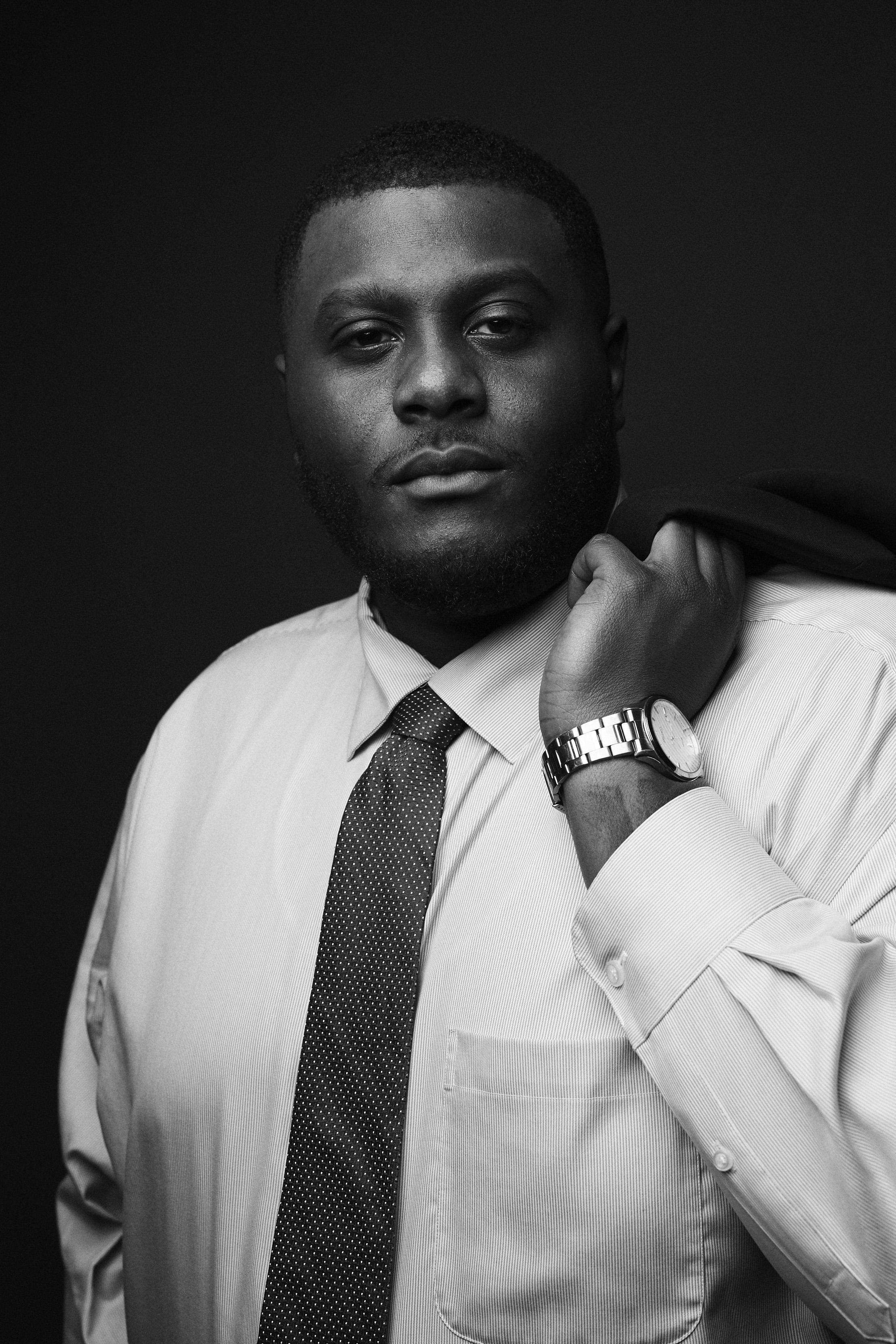black and white studio business headshot