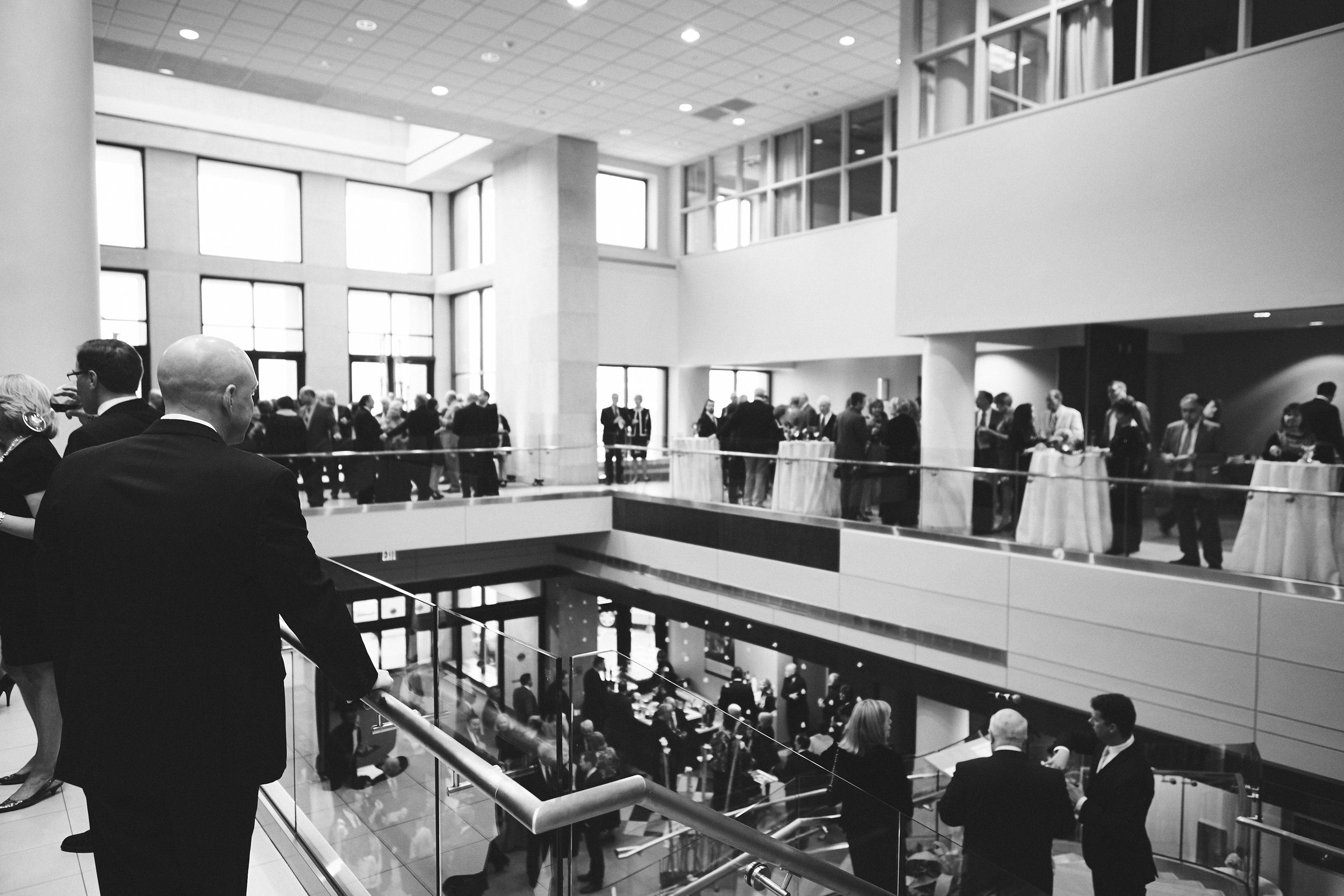 black and white photo of corporate event at hospital