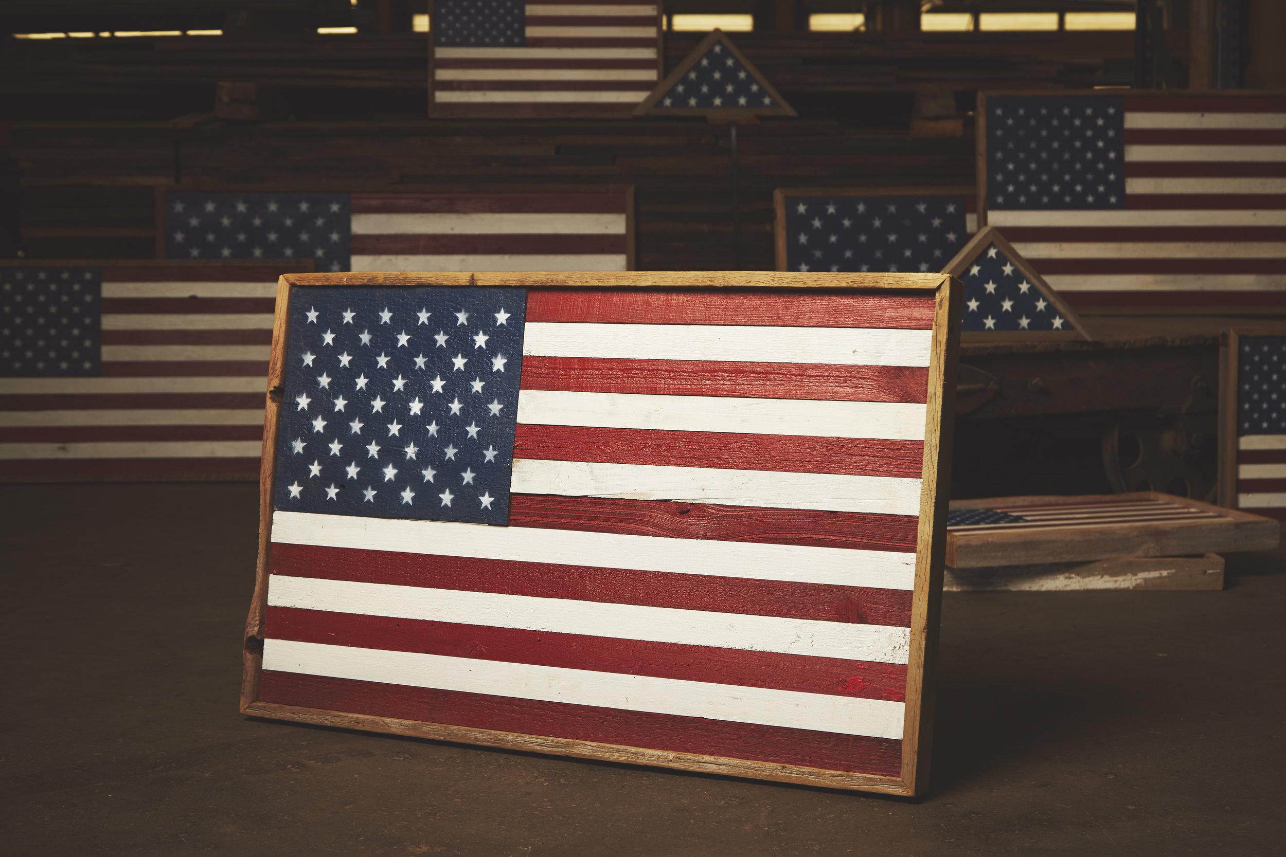 reclaimed wood American flag photo