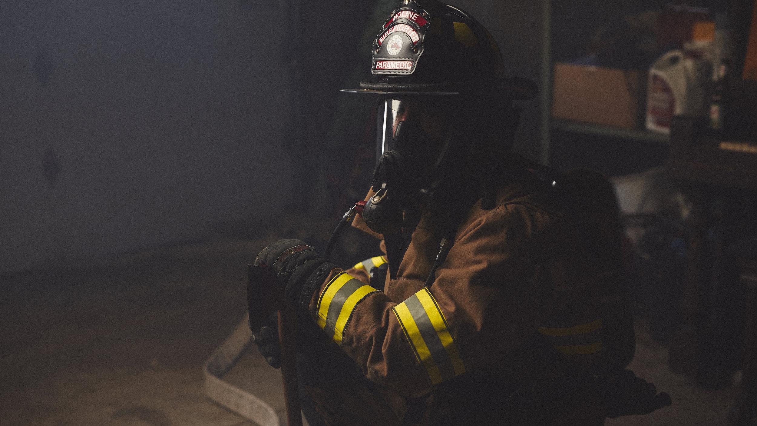 Illinois firefighter portrait with studio lights