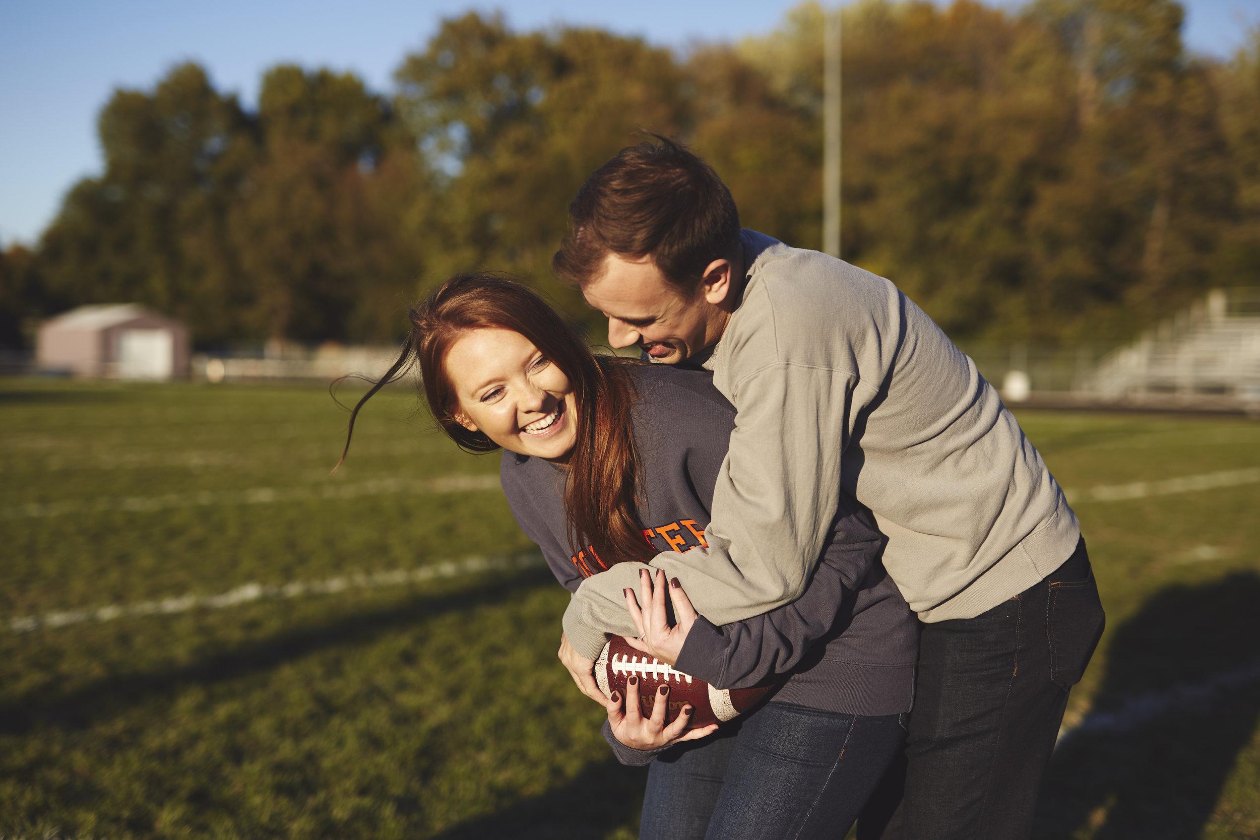 football theme engagement portrait