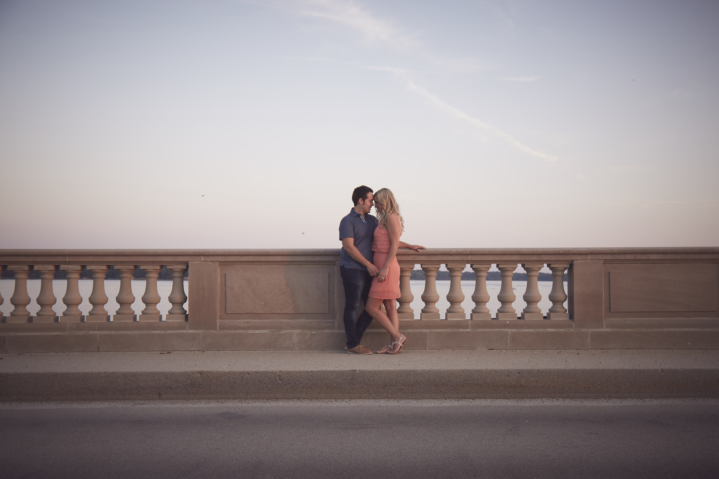 summer engagement shoot on Illinois bridge
