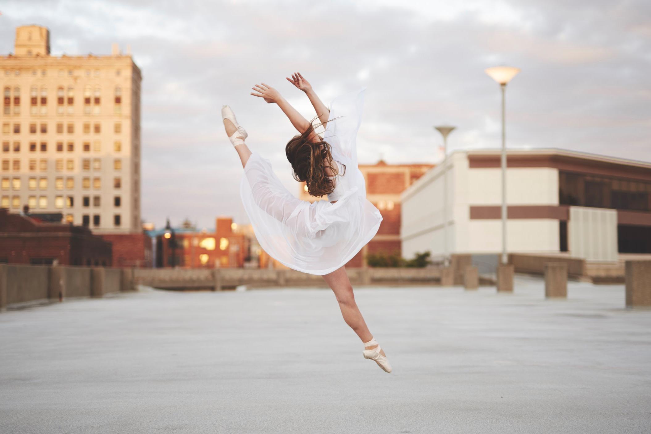 Ballerina on Illinois Rooftop