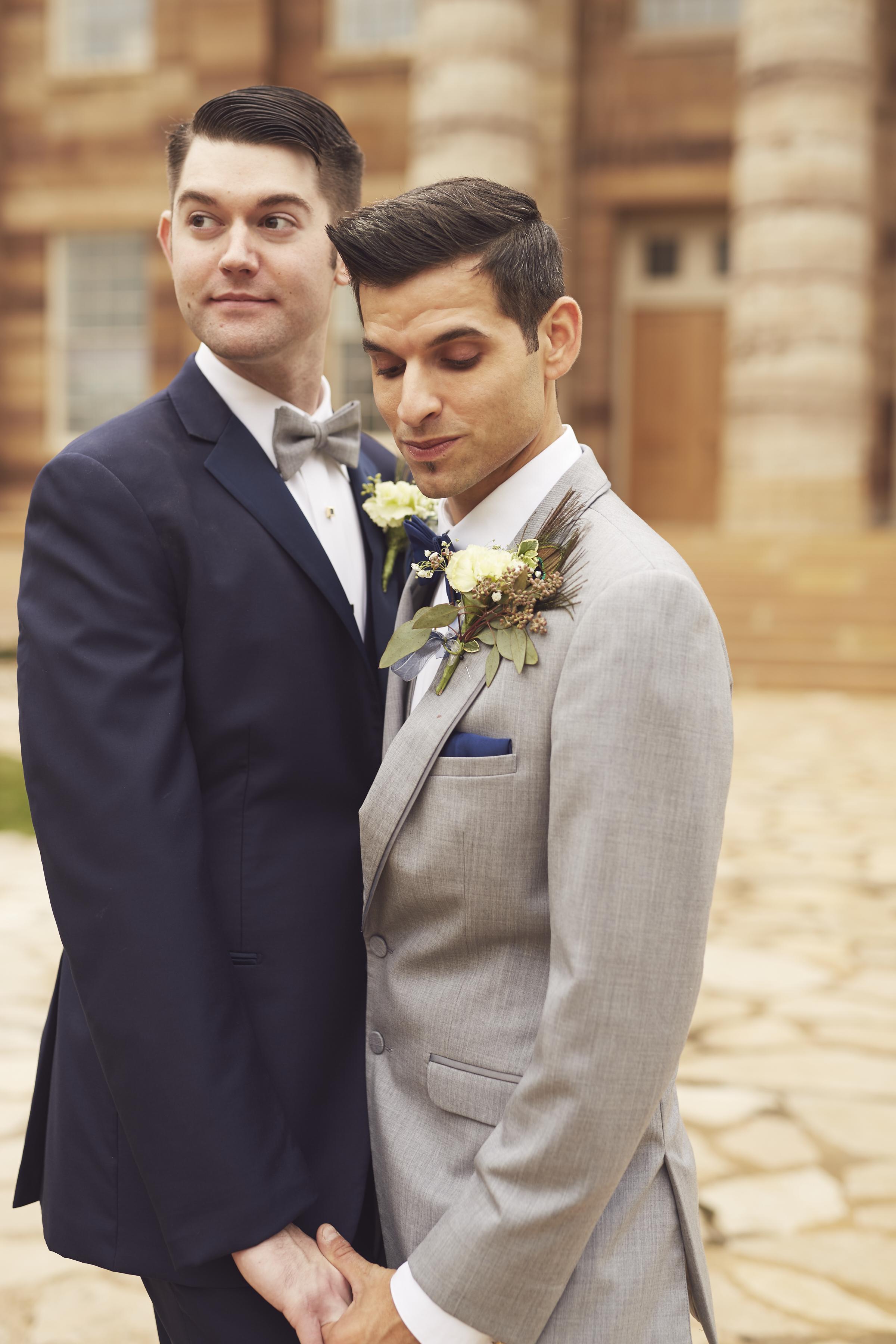 Grooms in Outdoor Wedding Portrait