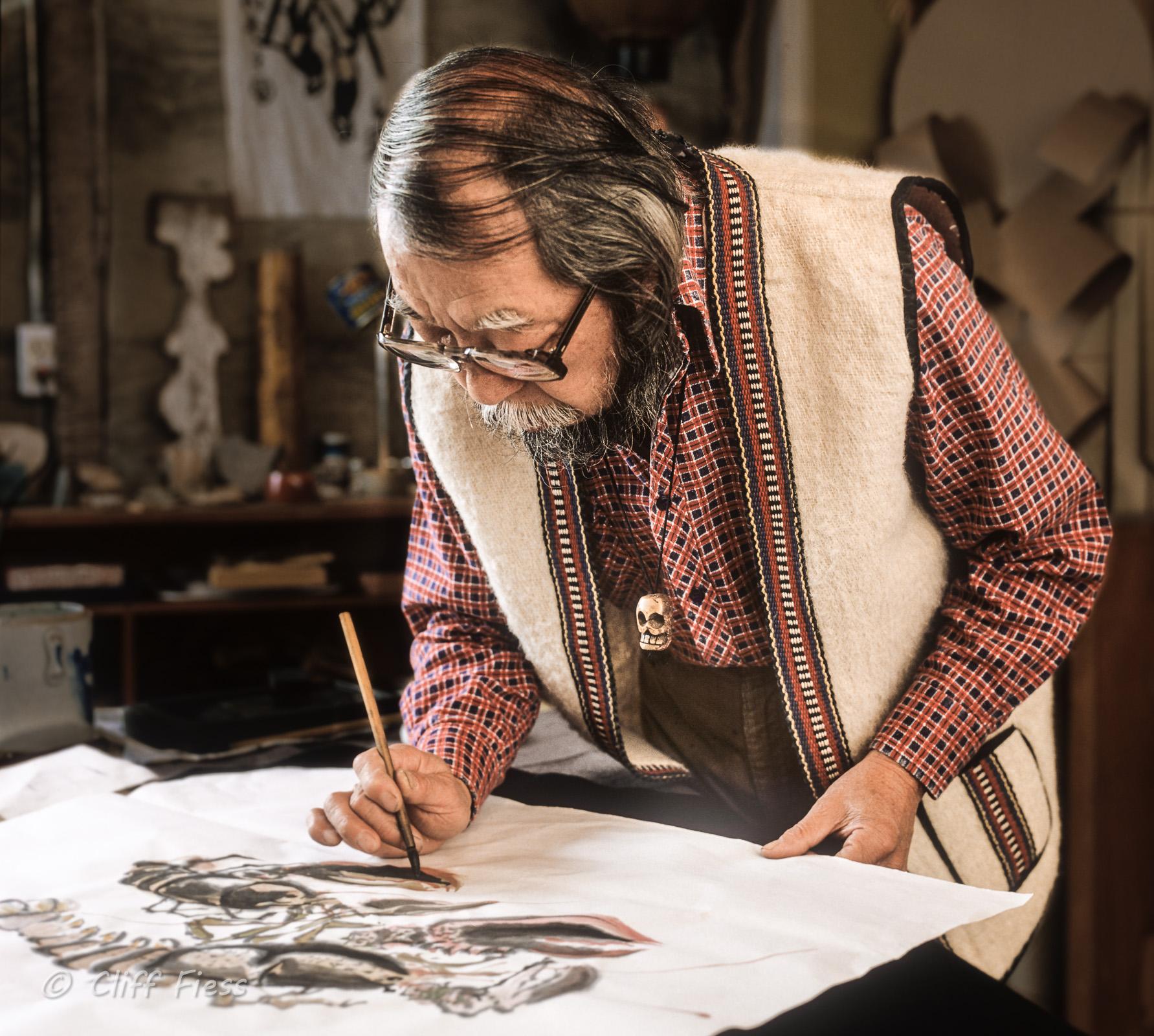 A portrait of the eminent artist George Tsutakawa.