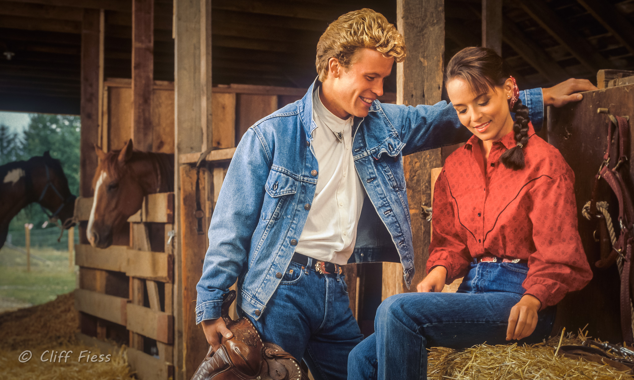 A cowboy and cowgirl
