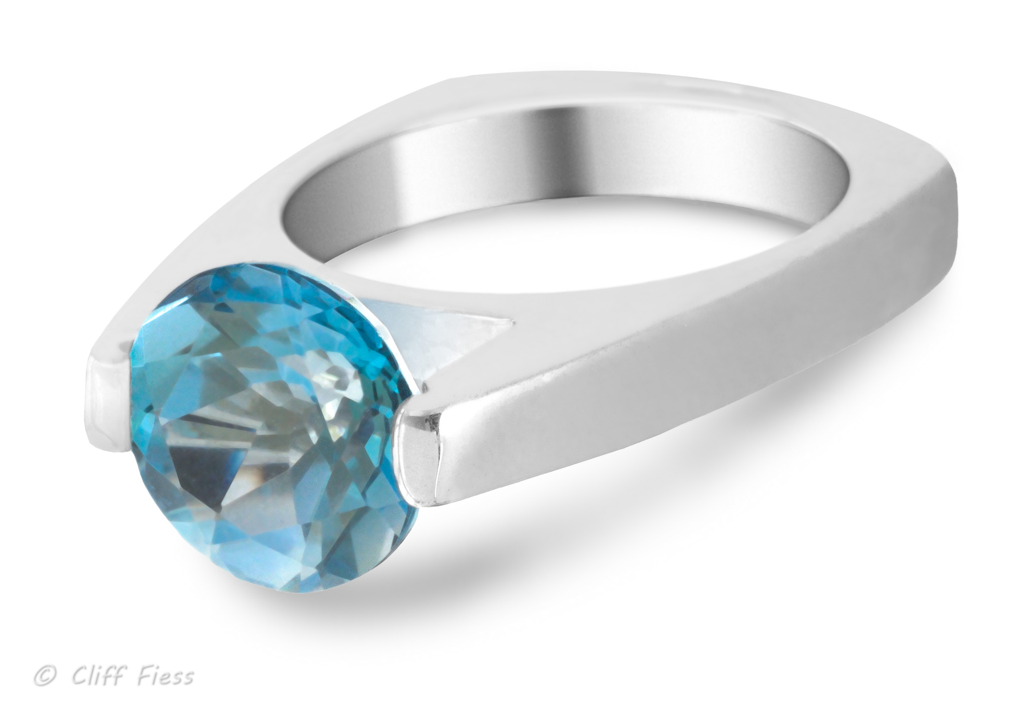 Sterling silver ring with a blue topaz gemstone