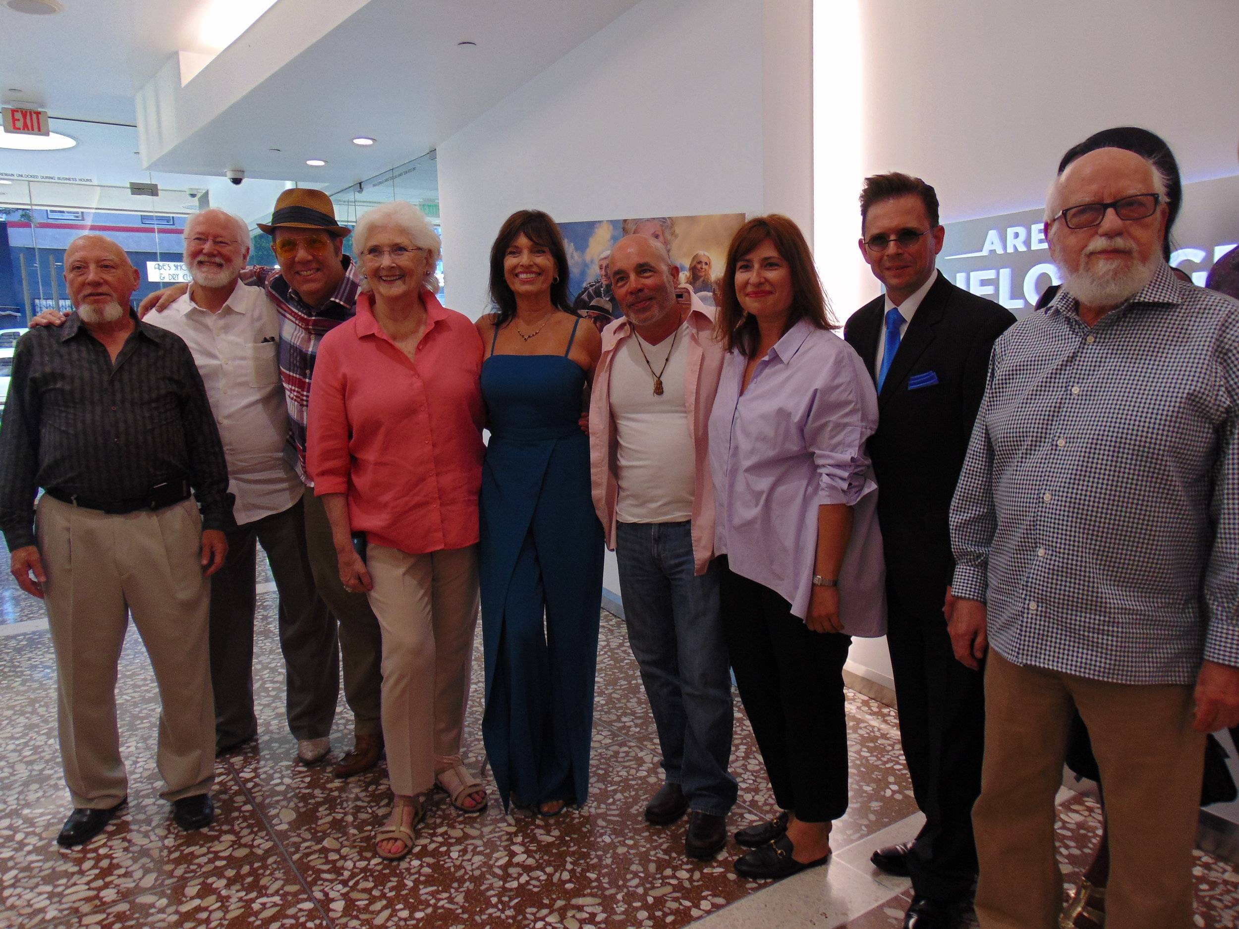 """July 2018. Stephen Anthony Ralston with cast and crew at The Arena Cinelounge for a screening of """"Angels on Tap""""."""