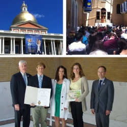 The Belmonte's receiving the Excellence in Environmental Education Award from the Secretary of Energy and Environmental Affairs at the MA State House in 2014.