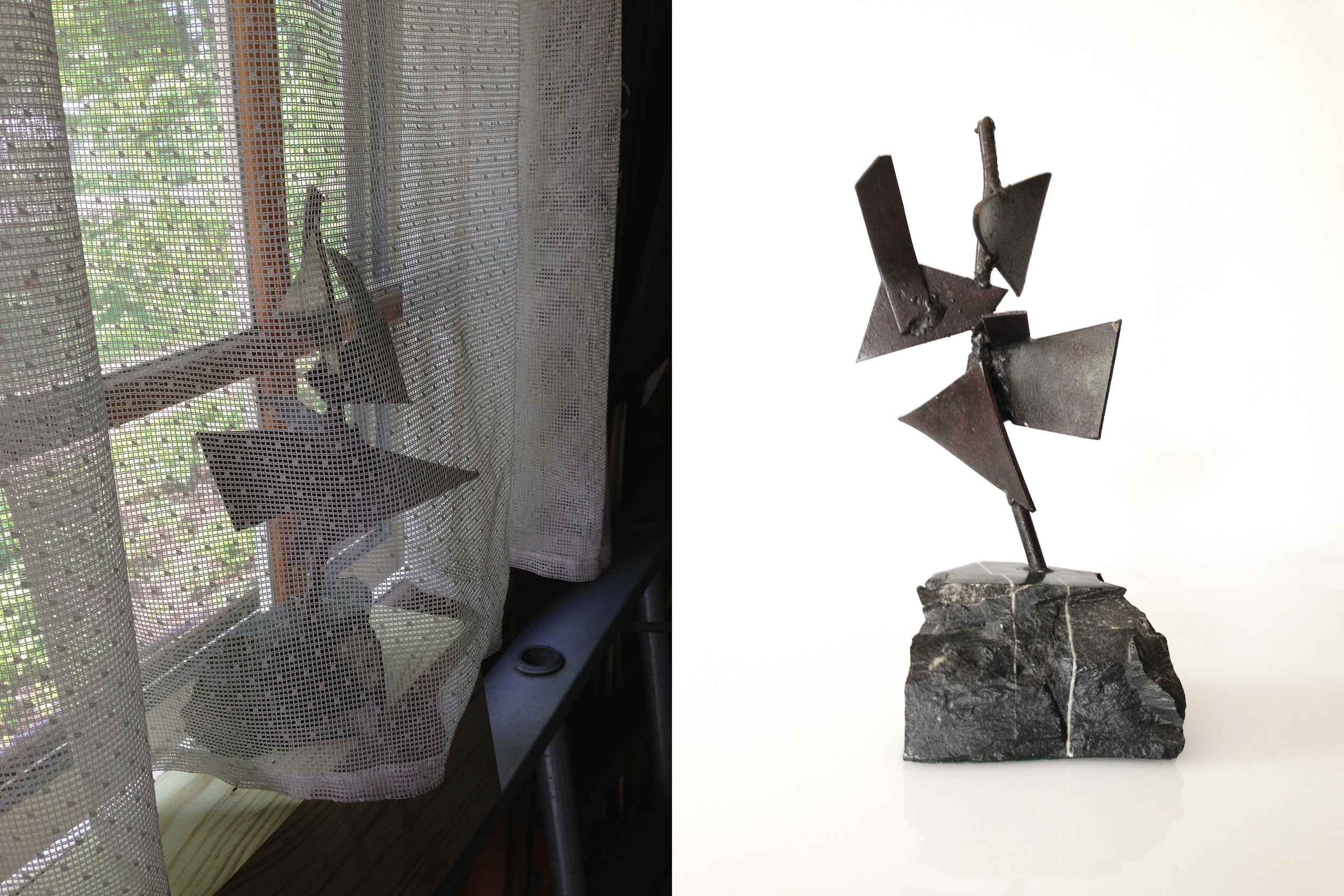 Someone tried to hide this interesting brutalist sculpture on the windowsill of the garage. I spotted it.