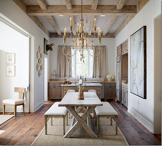 Another bull mounted high overhead. Interior Design by Annelle Primos. Photo by Chipper Hatter via    here   .