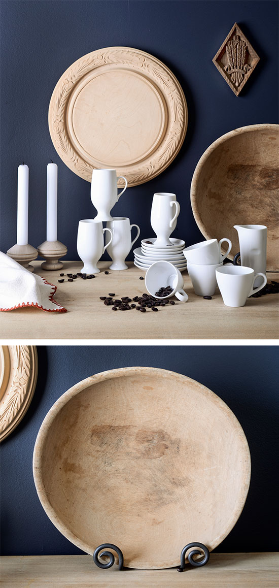 White espresso cups and raw wood at    Finder Not Keeper   . Photo by Renn Kuhnen.