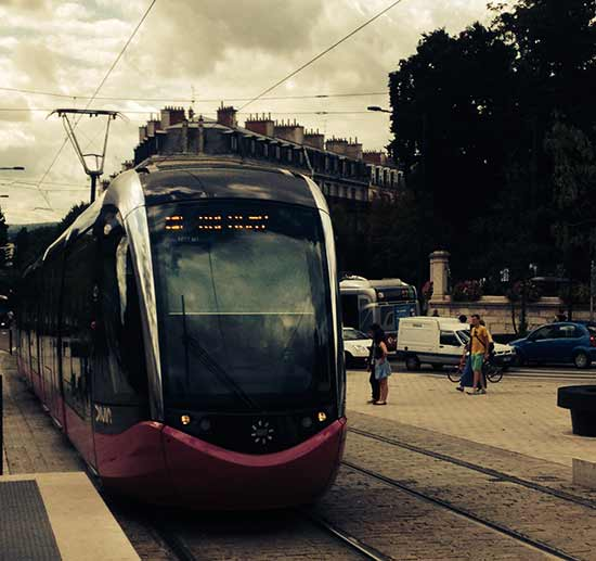 Le Tramway, built in 2012, is five decibels quieter than street traffic. Wonderful for the environment but I worried about pedestrians walking into its path because it is so silent.