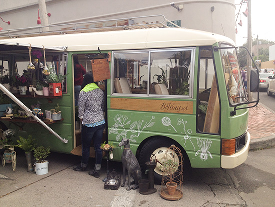 A van retrofitted as a shop on wheels. My husband is a sucker for a shop on wheels. Or a shop that floats.
