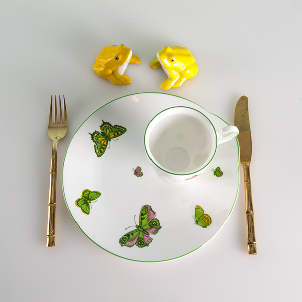 Set of seven butterfly plates and cups with accessories. More information    here   .