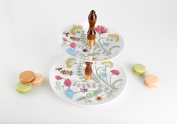 Midcentury Modern tiered cookie stand with butterflies and flowers. More information    here   .