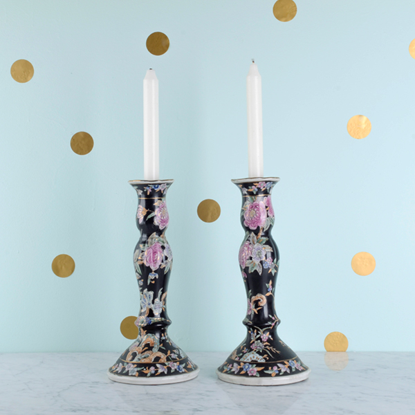 Vintage black, gold, pink, mint green Chinoiserie floral candlesticks. More information    here   .