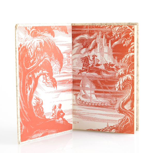 """This illustrated anthology of classics, titled """"Journeys Through Bookland,"""" was published in 1955 and contains selections by Wordsworth, Longfellow, Shakespeare, Tennyson, and Scott. The collection includes a vintage model pond boat among other treasures."""