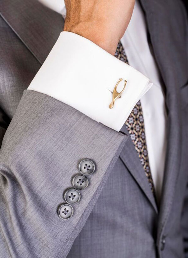 Photo of cufflinks by Renn Kuhnen, modeled by my better half. For more information,    click here.