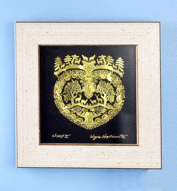 A gold foil paper cut scene that evokes the idyllic harmony of man and nature which might not really exist anymore except at Peg's. Click on photo for shopping details.