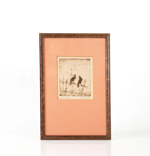 Beloved Wisconsin artist Max Fernekes (1905-1984) depicted these two crows with dry point etching on copper. Maybe a distant relative of Vlad? Click on photo for shopping details.