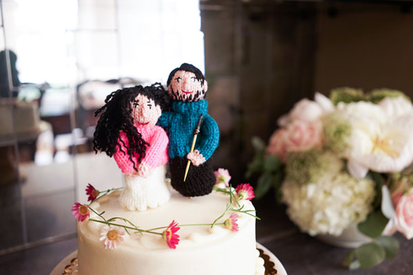 There they are! My finger puppet bride and groom sitting sweetly atop a vegan wedding cake! The woman who knit them for me is a blog subscriber and I think she is shocked at how far I have taken this gag. #fingerpuppets #onfleek