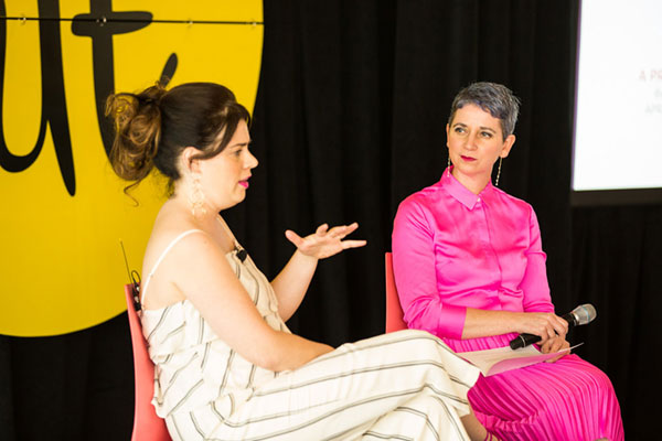 """Meg Keene (left), founder of  A Practical Wedding , talking politics with Gabrielle Blair (right): """"If you don't have a point of view, then you have stated your point of view. People are worried about losing followers but I can guarantee that if you aren't taking a stand, then you are losing followers."""""""