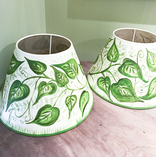 """Caryn's handpainted lampshades. I can recognize the work of a domestic goddess when I see it. I think to myself, """"Hey! I can try that!"""" And then I discover that what the domestic goddess makes look easy is actually so very difficult."""