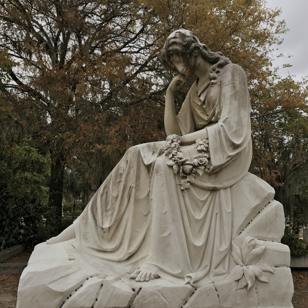 There are many angels in the Bonaventure Cemetery. Almost all of them are looking or pointing down. But whether that means the angels think the departed are in hell or because they're just plain mournful, the knowledgable guide didn't specify.