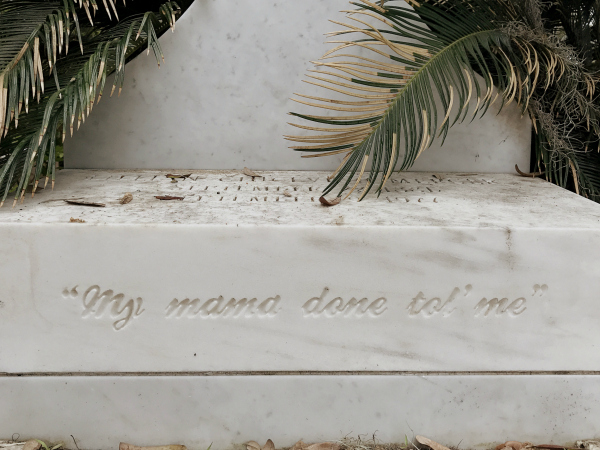 "Inside singer/songwriter Johnny Mercer's spacious family plot in Bonaventure Cemetery, every monument and bench is carved with his song titles. The man was a prolific genius who seemed to get better as he aged. Some of his hits: ""Come Rain or Come Shine,"" ""Days of Wine and Roses,"" ""Hooray for Hollywood,"" ""In the Cool, Cool, Cool of the Evening,"" ""One for My Baby,"" ""Skylark,"" ""Something's Got to Give,"" ""Old Black Magic,"" ""You Must Have Been a Beautiful Baby."""