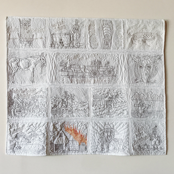 """Cathy named this quilt the Graphic Novel Version of William Faulkner's """" As I Lay Dying ."""" The lack of color, save the flames that lick up the side of the barn, enhances the grim nature of Faulkner's story of a dying woman in Yoknapatawpha, Mississippi."""