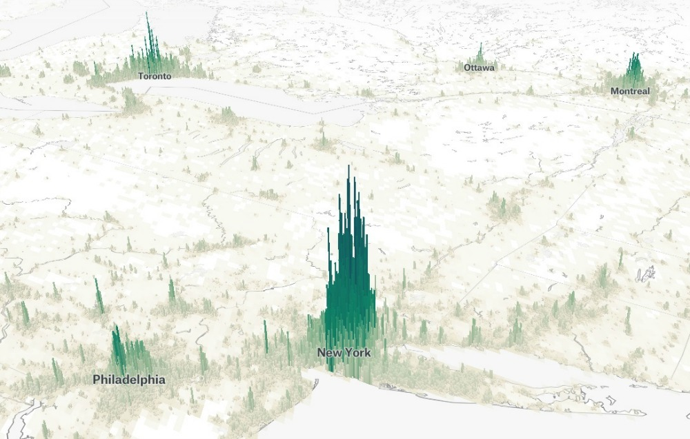 This is cool:   world populations as mountains  . (Thanks Barbara!)