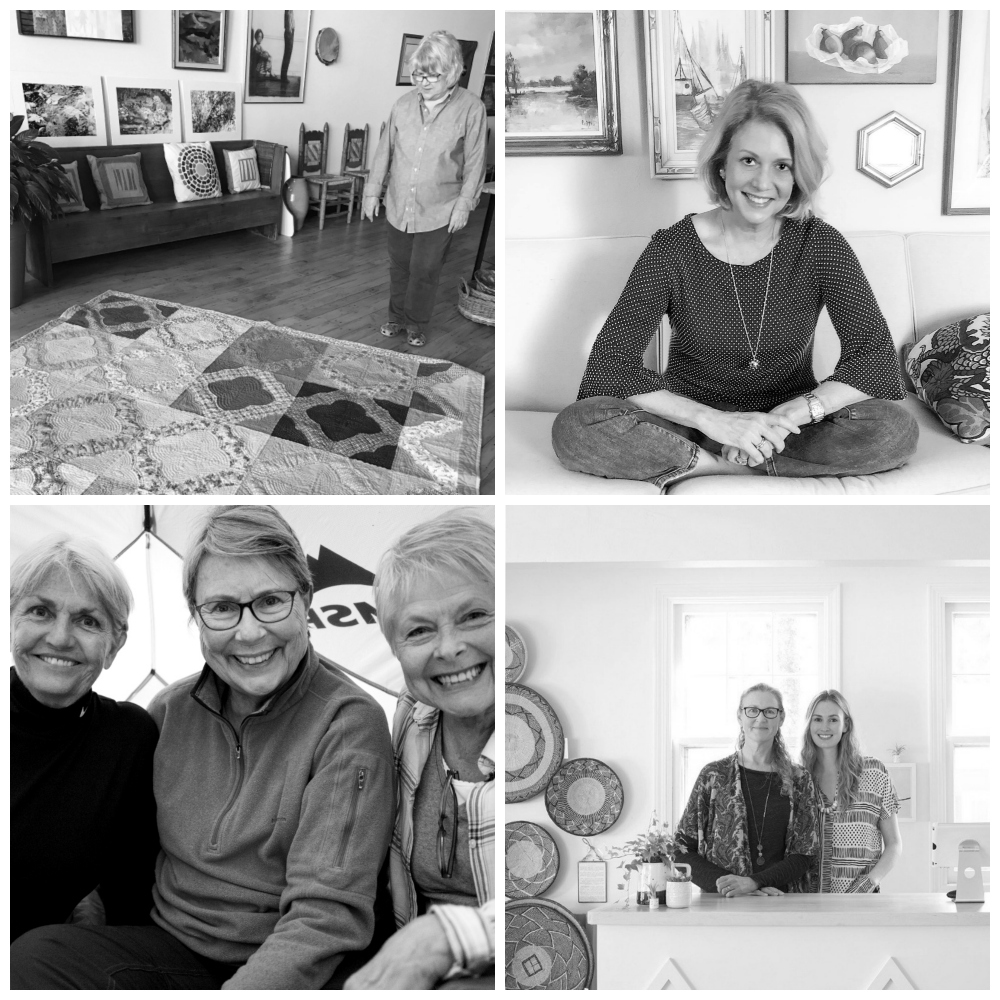 """More of this year's profiles on badass women, clockwise from top right,  """"Studio Tour of Cathy Fussell,""""  and  """"An Entrepreneur's Lesson: How to Begin and How to End,""""  and  """"The Inspiring Mother and Daughter Story of Sister Golden""""  and  """"Tales from the Trail."""""""