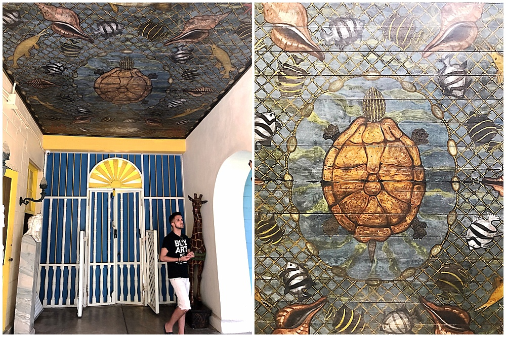 Frederic built the roof of the loggia using a piece of mahogany that washed ashore. He painted the sea turtle, the shells, and the fish. The tour guide pointed out that Evelyn had the unenviable job of painting the netting.