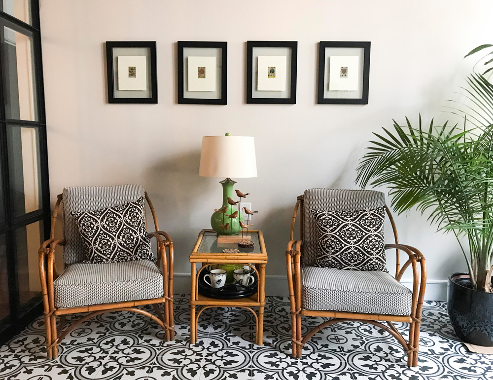 The set of Heywood Wakefield furniture was in their Oak Park apartment, but Harlene had it reupholstered for their new digs. Sadly, the seamstress tossed out the original barkcloth cushions.