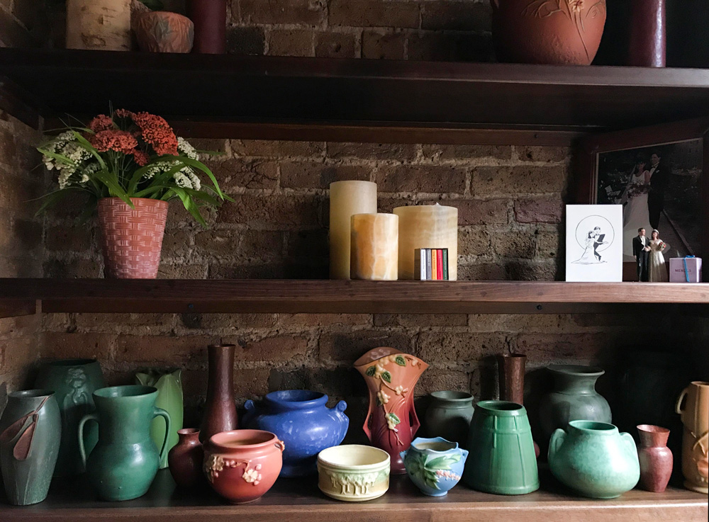 Mike and Harlene lived in an arts and craft bungalow in Oak Park, Illinois, where everything was oak oak oak. Harlene avoided oak accents in their loft apartment but their collection of Roseville and Ephraim Faience pottery made the cut to the Big City.