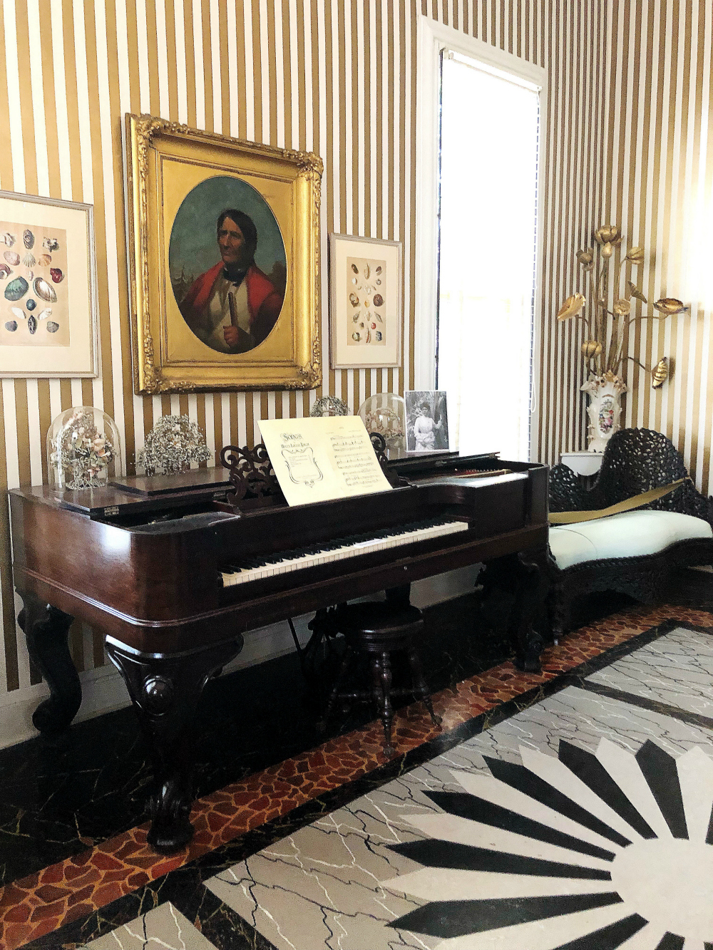 Helen, the second wife of Frederic Bartlett, was an accomplished pianist, and this was her music room. My son, also a musician, immediately noticed that the piano, a Steinway, seemed short on keys. Turns out this was one of Steinway's earlier pianos, designed with 85 keys, and when he changed to 88 keys, he asked customers to turn in their old pianos, which he had burned, en masse, in Atlantic City, New Jersey. The Bartletts did not turn in their 85-key piano.