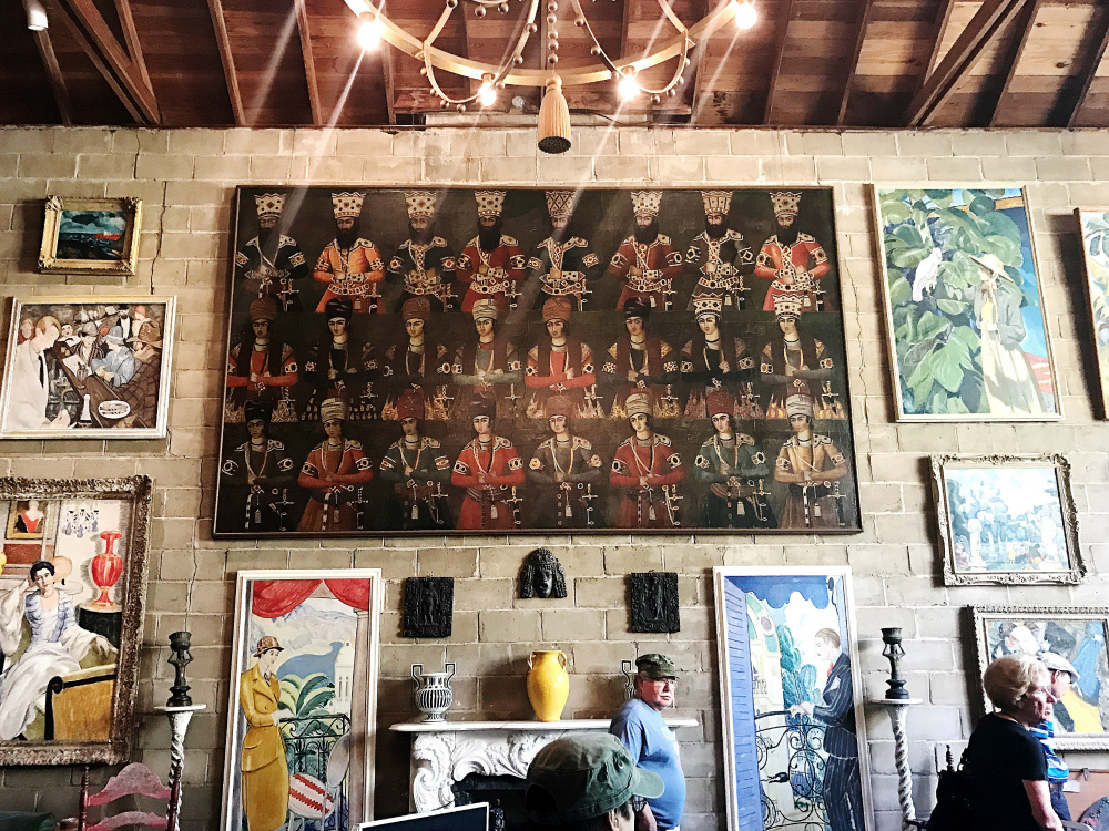 A giant painting of Persian princes! My family and I were so thrilled to see this! Flanking the mantelpiece are portraits of Evelyn and Frederic.