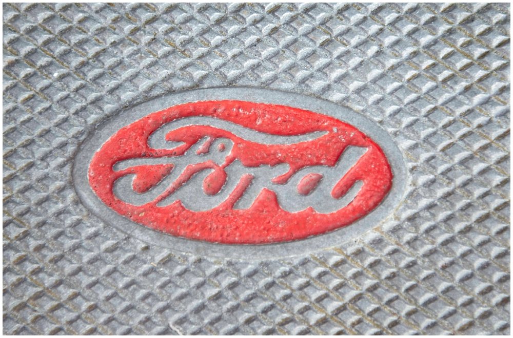 The logo stamped on Betty's running board, which miraculously, hasn't rusted. There's a common myth that the cursive logo, in use since 1903, represents Henry Ford's actual signature. In fact, a friend of Henry Ford's designed it, using his grandfather's circa 1850s elementary school stencil set.