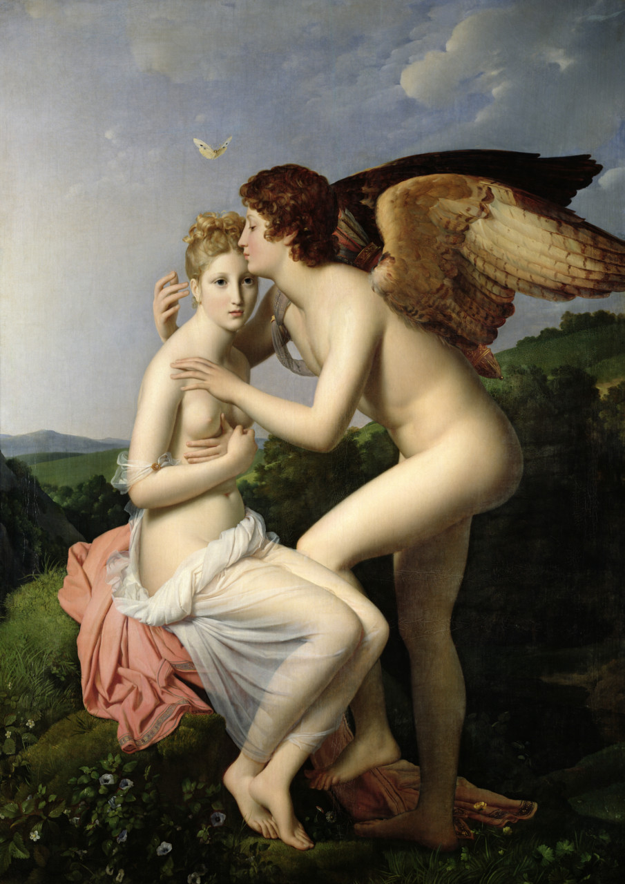 Psyche Receiving Cupid's First Kiss    (1798) by   François Gérard  :