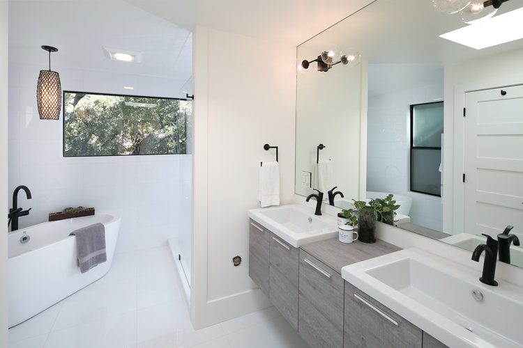 Master Bathroom with Radiant Heated Floors at 44 Tarry Lane in Orinda