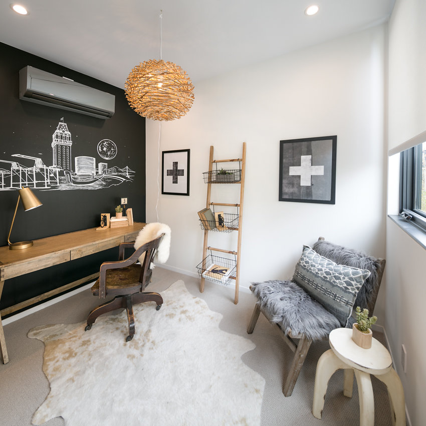 Chalkboard accent wall with original artwork at 1176-66th Street, Oakland CA 94608