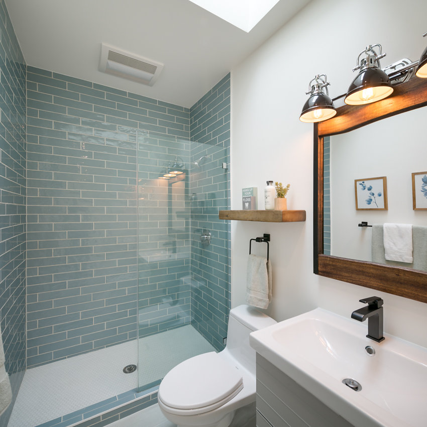 New shower tile at 1176-66th Street, Oakland CA 94608