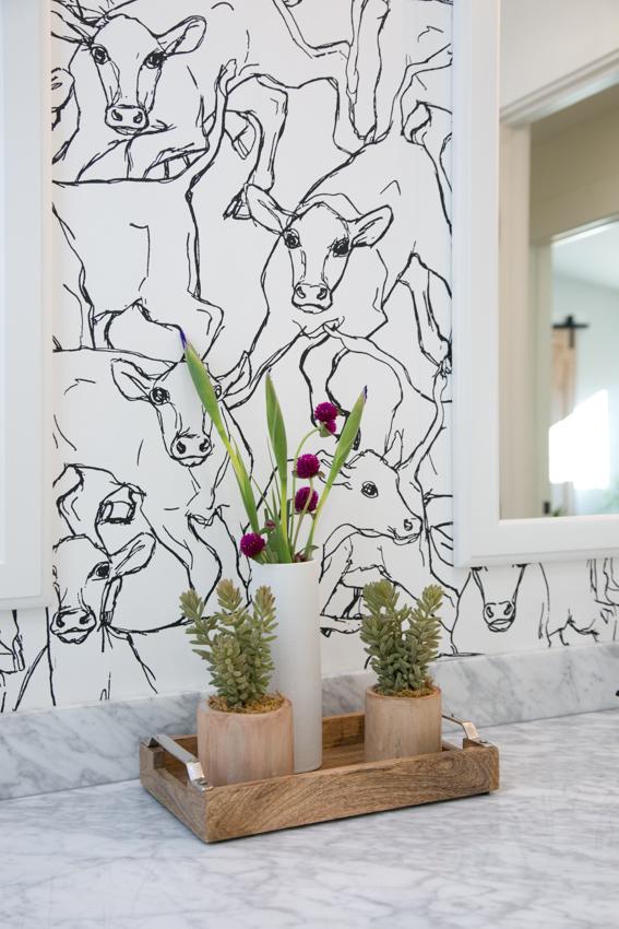 cow wallpaper kids bathroom walnut creek