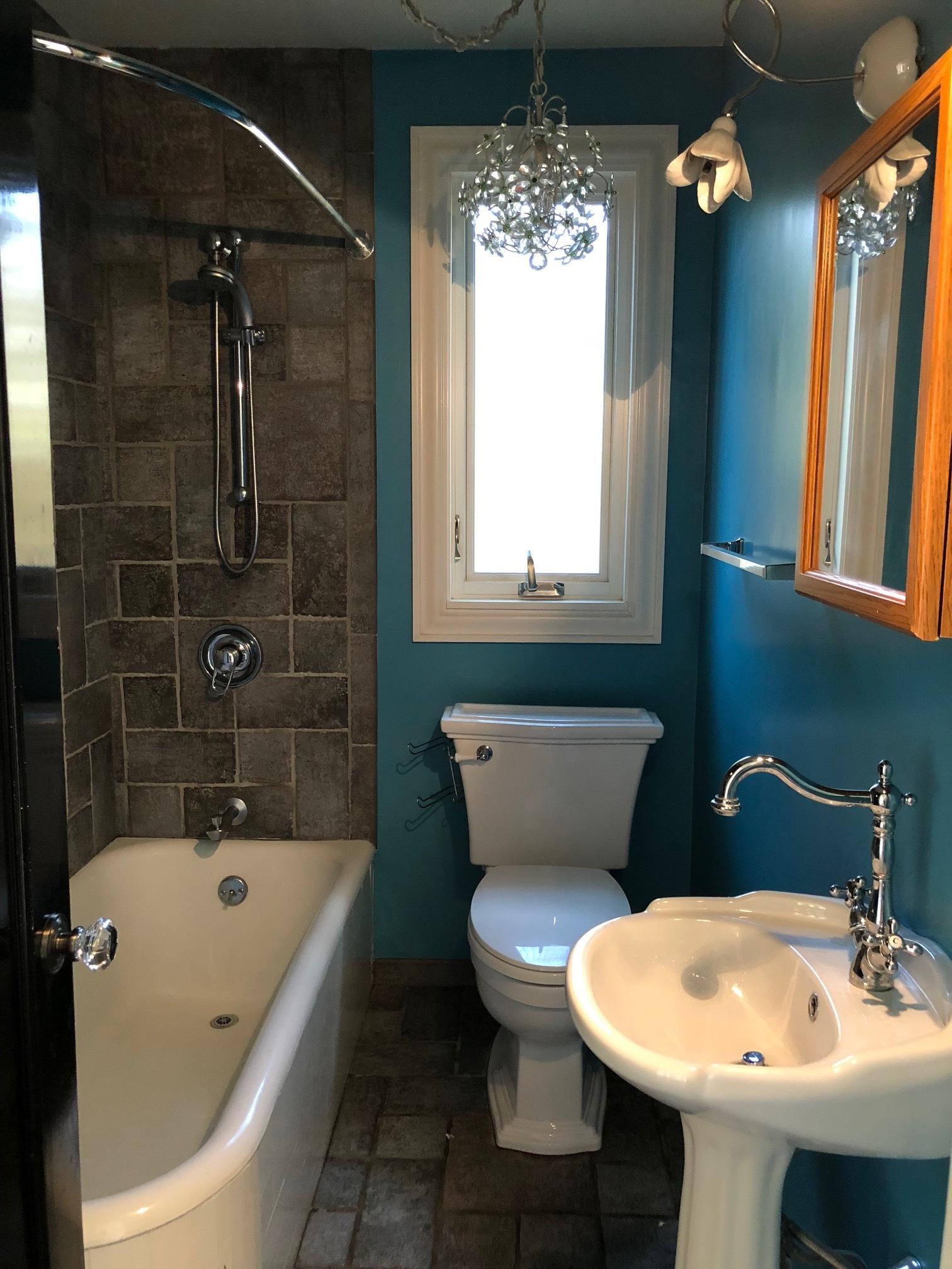 Crocker Highlands Modern Mediterranean Bathroom Renovation, Interior Design and Staging- before
