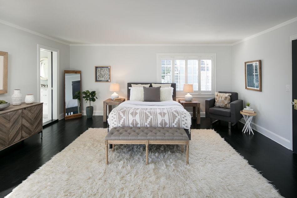 Crocker Highlands Modern Mediterranean Interior Design and Staging- master bedroom after
