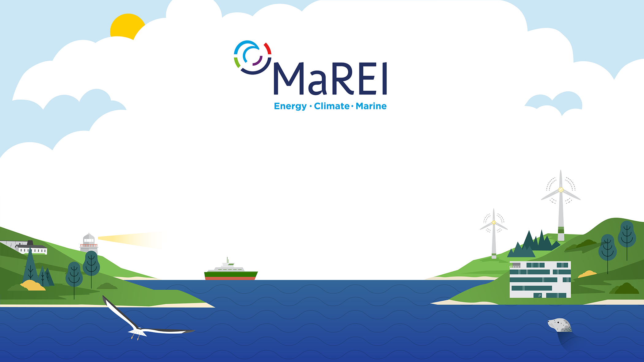 Background illustrated for the MaREI Centre, which needed a welcome sign display for screens during special events.