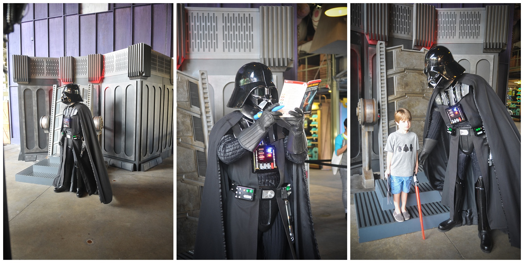 """Meeting the famous Darth Vador. We brought our book for him to sign. He read it and made a few changes ; ) Saying he """"WILL"""" defeat the Galaxy."""