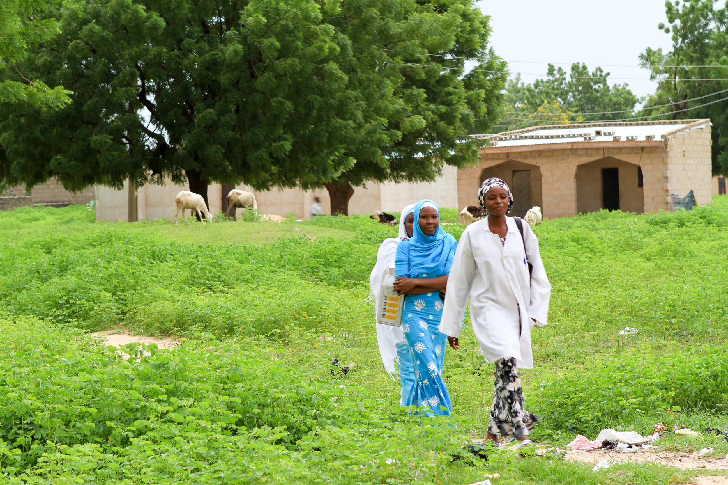 The health workers come back to the health post after a day's work.