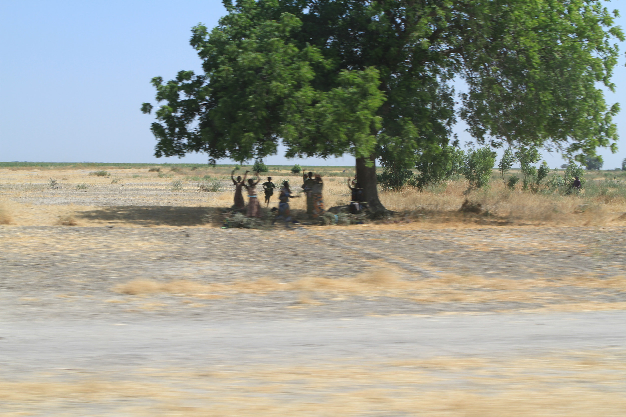 We were driving up to a village on Lake Chad. There was a big convoy of us and people ran out to wave as we went by.